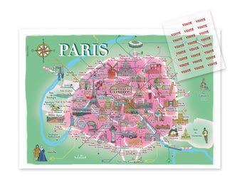 Displays map illustrated Paris