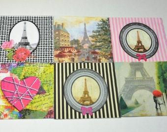 6 mix Paris Paper Napkins for Decoupage, Mixed Media, Collage, Scrapbooking, Paris  Decoupage Paper