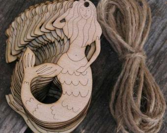 Wooden Mermaid Combing Her Hair Shape