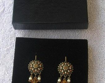Vintage 2003 Joan Rivers Marrakesh Drop Leaver Back Pierced Earrings Unused