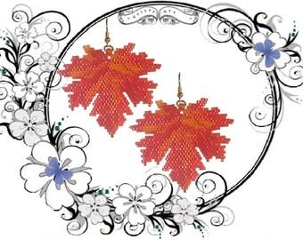 Beading Tutorial Pattern  - Greetings from Canada Earrings - Maple Leaf Pattern, beaded Maple Leaf earrings, Miyuki Delica PDF Tutorial