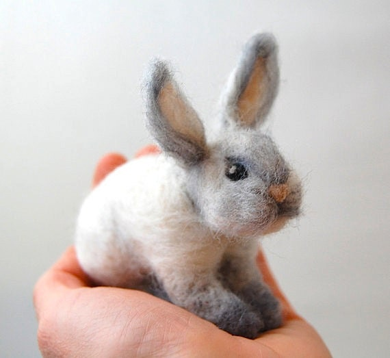 Needle felted animals easter bunnies easter bunny kids like this item negle Gallery