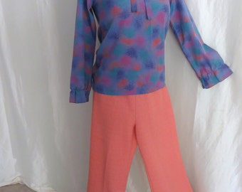 Vintage womens slacks pants, high waisted, wide leg, 70s stretch knit, elastic waist, coral orange pastel, size M L- matching top available