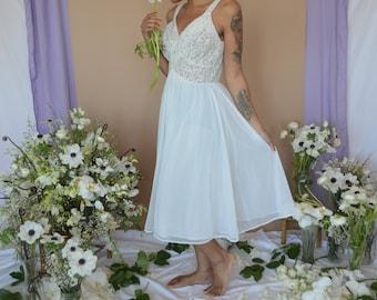 White Nylon Slip Dress with Lace Bodice