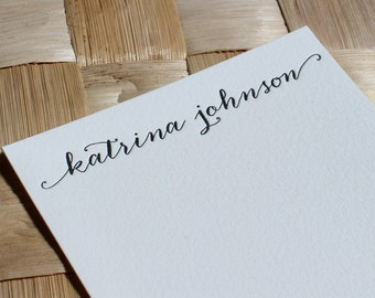 Personalized Letterpress Calligraphy Note Cards