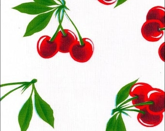 Round Cherry White Oilcloth Tablecloth