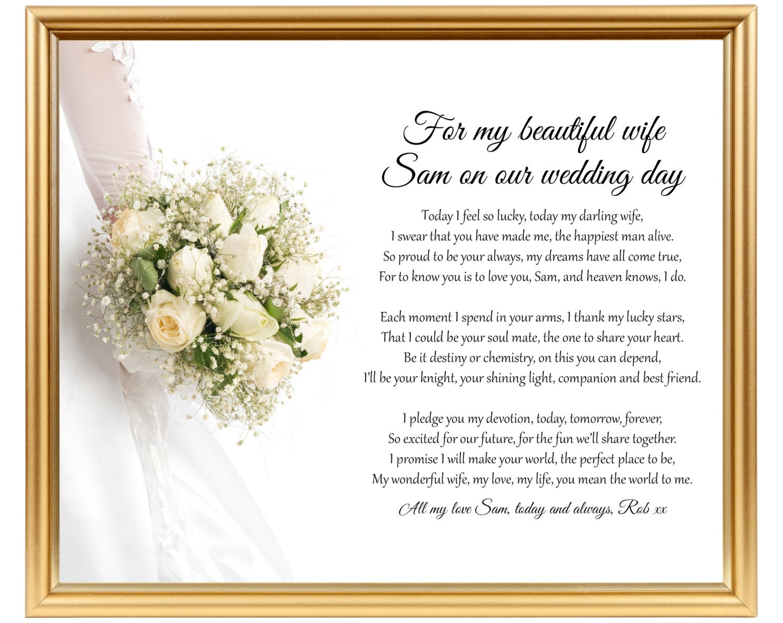Groom to Bride wedding gift Poem gift for wife on wedding