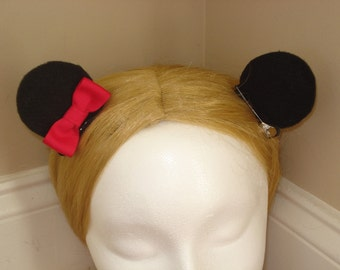 Mouse Ear Hair Clips- Hot Pink Bow