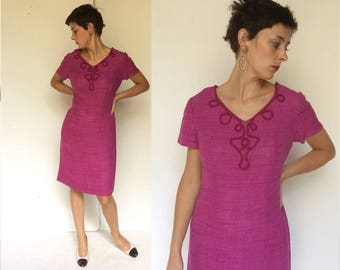 Linen Magenta 1950s Handmade Couture Hourglass Dress