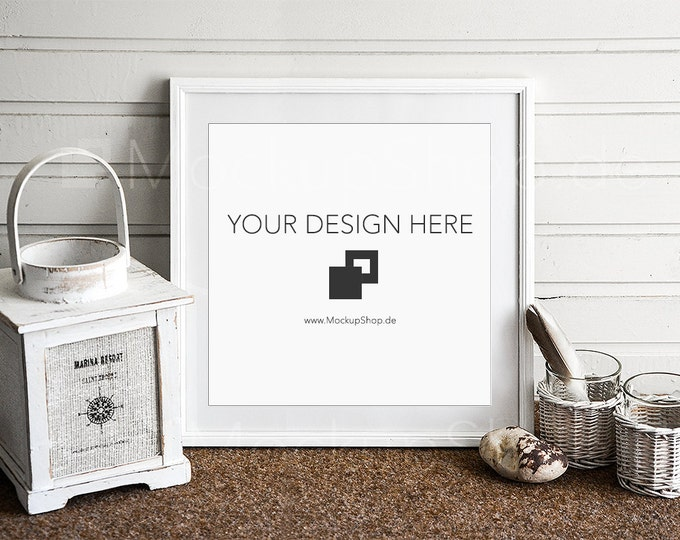 Square PHOTOFRAME MOCKUP in white in front of wooden wall with old lantern, mockup Decoration, maritime, country-style, White, Vintage