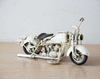 White motorbike miniature, vintage, metal miniature, Harley type bike, shabby decor, alloy bike, retro collectible bike, early nineties