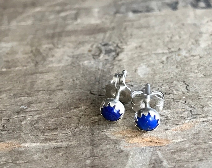 Sterling Silver and Blue Lapis Lazuli Stud Earrings || Blue Tiny Studs