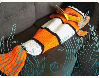 Clown Fish Blanket Kids or Adult Tail Crochet Afghan Sack