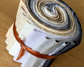 """BIJOUX Neutral Colours 1 Mini Jelly Roll by Makower Quilting Fabric Strips 2.5"""" white beige grey black"""