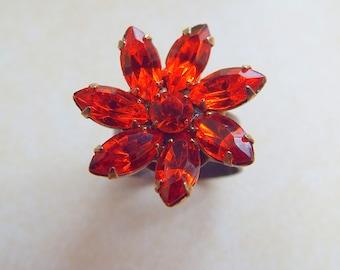 Rhinestone Vintage Hyacinth Orange Flower on Antique Bronze Adjustable base