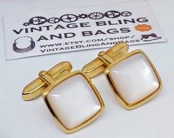 16mm Mother of Pearl cufflinks, vintage square cufflinks, Vintage cufflinks, square Vintage cufflinks, vintage wedding cufflinks, bridegroom