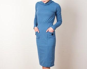Blue Dress, Work Dress, Winter Dress, Turtleneck Dress, Dress With Pockets, Warm Dress, Fall Dress, Long Sleeves, Pencil Skirt, Comfortable