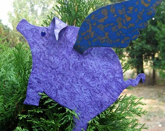 Metal Art Sculpture Flying Pig Tree Topper Purple Christmas Ornament Recycled Metal Whimsical Metal Pig When Pigs Fly Custom