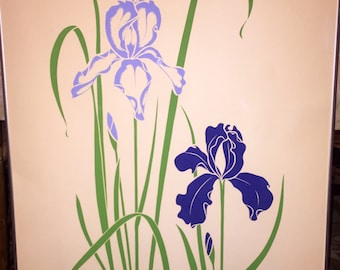 Vintage Bearded Iris Print signed P CHU