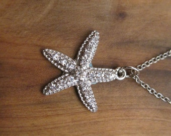 Silver Rhinestone Starfish Necklace - Silver Starfish Necklace - Starfish Necklace - Beach Necklace - Nautical Necklace