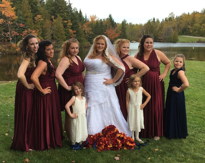 Wine Long Convertible Dress / Custom size, length / Maternity & Plus Size included