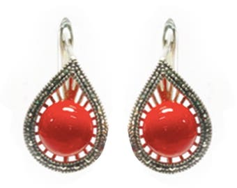 Stylish Handmade Aster Earrings Coral Color