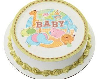 "Safari Babies 8"" Round Edible Cake Topper"