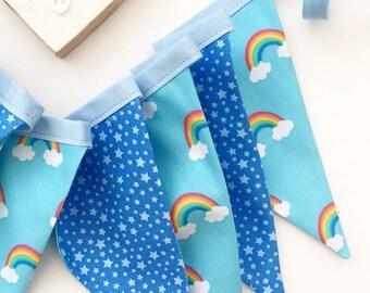 Rainbow Bunting, Blues, Stars, Bedroom/Nursery Decor, Baby Gift