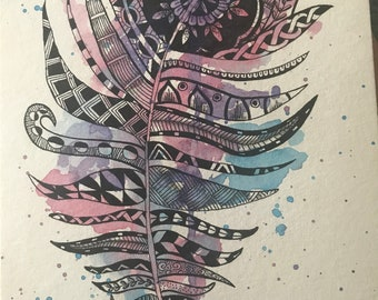 "Watercolour Feather Mandala ""Hope"" painting"