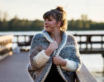 Crochet Cuddler Cocoon Sweater PATTERN pdf instant digital download cardigan wearable garment top fringe boho bohemian shawl knit