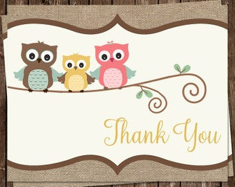 Baby Shower Thank You Cards, Owl, Burlap, Rustic, Shabby, Country, Girl, Boy, Gender Neutral, Pink, Blue, 20 Folded Notes, FREE Shipping