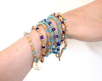 Femme bracelet, bracelet manchette en perles, bijoux Bohème, bleu, bracelet Boho, cadeau pour elle, cadeau pour femmes, bijoux fait à la main, Boho