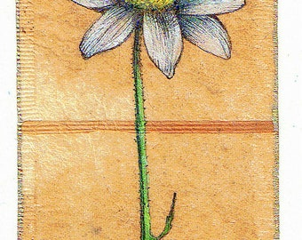 Ink Drawing on teabag 3, flower drawing,teabag art, floral art, daisy, spring floral, mixed media, original art, original painting