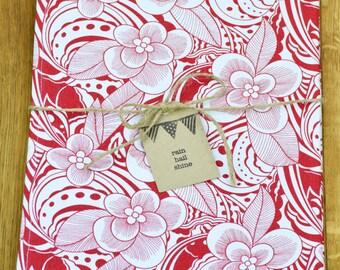 100% Cotton Canvas Tea Towel in Funky Red Amazon Jungle Design
