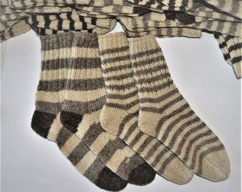 Sale ! Hand Knit wool socks! Light and Dark stripes! FREE SHIPPING !!! Buy Тwo pairs and get One FREE!!!