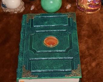 Orange mineral Cameo on Green Grimoire Sketchbook journal spellbook tome wicca larp cosplay