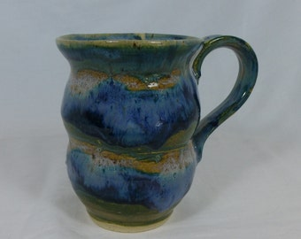 LARGE COFFEE MUG, stoneware, ceramic mug, blue mug, green mug, large mug, cup, handmade cup, handmade mug, pottery mug, coffee mug, soup mug