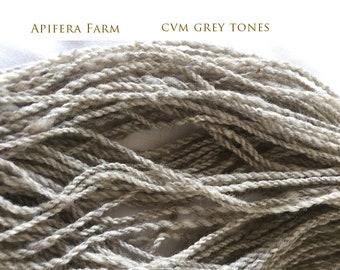 Yarn: 2 ply 125 yard skein CVM grey tones