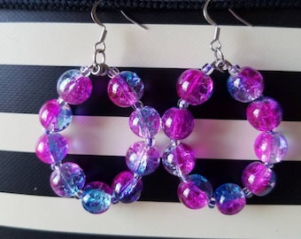 Oval Shaped Hoop Earrings/Colorful Glass Beads/Pink/Fushia/Purple/Silver Plated