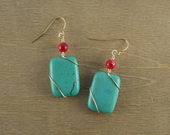 Wire-wrapped Turquoise Magnesite with a Red Coral Accent