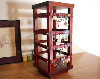 Earring Holder - Jewelry Holder Store Display, 4-Sided Rotating Jewelry Display, Bloodwood, Wood. Holds 160 pairs. Jewelry Organizer