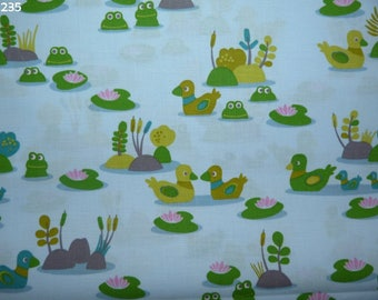 Fabric C235 ducks and frogs on blue coupon 50x50cm