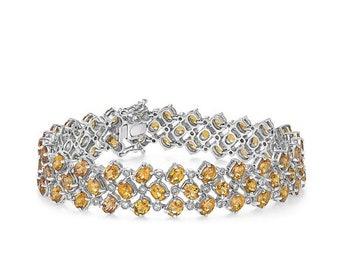 Big Diamond and Citrine Bracelet - 21.61 TCW 14K White Gold November Birthstone Orange Gemstone