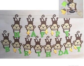 DIY Monkey birthday banner, Safari birthday banner, Monkey birthday party, Banana banner, jungle themed birthday party, monkey themed party