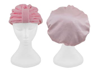 NEW Pink Microfiber Shower Cap & Pink Hair Drying Turban Accessory Gift Bundle Travel Accessories Pack Luxury Beauty Hair Set