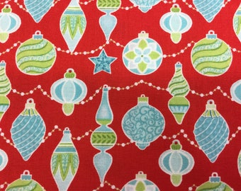 Fabric - Contempo's Sparkle - Red Baubles