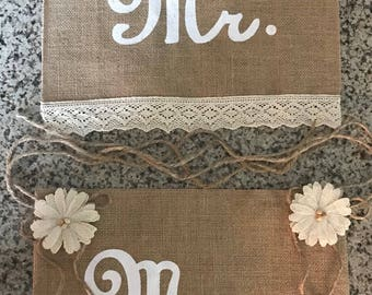 Primitive Reversible Here Comes The Bride / Happily Ever After Natural Burlap Flower Girl Ring Bearer Banner Sign Rustic Barn Wedding