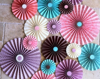 """Set of 15 Large 12"""" / 9"""" / 6"""" Paper Rosettes/Fans - Coral, Purple, Turquoise, Cream and Brown"""
