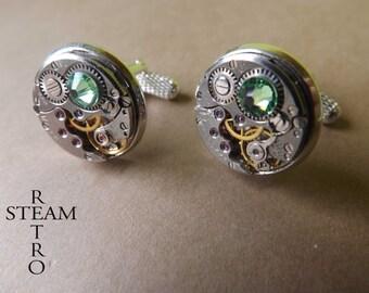 Steampunk Peridot green Cufflinks- Men Jewelry by Steamretro, Men cufflinks -personalized jewelry