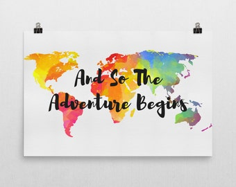 And So The Adventure Begins Sign, And So The Adventure Begins Art, And So The Adventure Begins Print, ravel Gifts, Gifts For Travelers